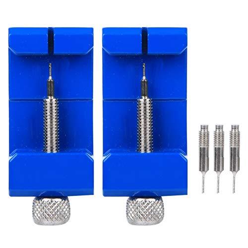 DAUERHAFT Correa de Reloj Extractor de pasadores de eslabones Durabilidad Metal Hierro Aluminio Acero 2 Juegos, para Ajustar la Longitud de la Cadena del Reloj