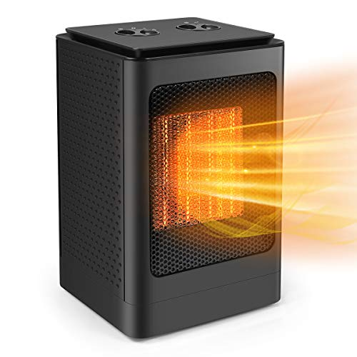 Portable Oscillating Space Heater, Electric Ceramic Heater Desk Heater with Thermostat Over Heat Protection, 3 Modes Adjustable, 2s Quick Heating for Home/Office/Indoor Use