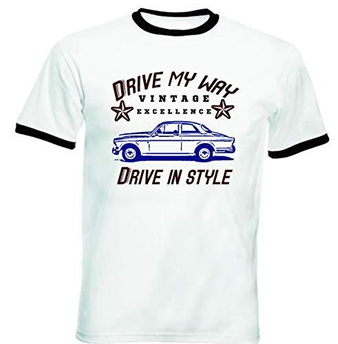 TEESANDENGINES - Camiseta para hombre Volvo Amazon Coupe Drive My Way, color negro Blanco blanco XL