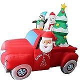 Lungo Babbo Natale Gonfiabile Che Guida la Macchina Rossa con L'Albero di Natale e Il Pinguino GUIDATO Luci Decor Tough Toys Decorazioni familiari (Color : A, Dimensione : One Size)