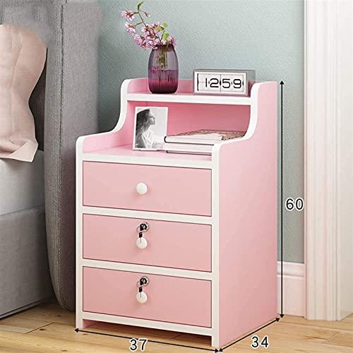 Wddwarmhome Simple 3 cajones de Mesa de Noche, Mesa de café de la mesita de Noche con un gabinete de Bloqueo con Estante Abierto y cajón de Bloqueo (Color : Pink)