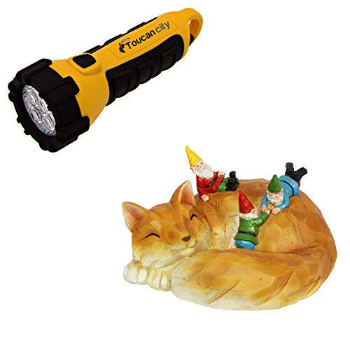 Toucan City LED Flashlight and Exhart Solar Wood Like Fox Gnome 18760-RS