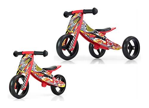 Milly Mally Jake Cars 2 in 1 - Triciclo y Rueda de Madera para niños, Color Rojo