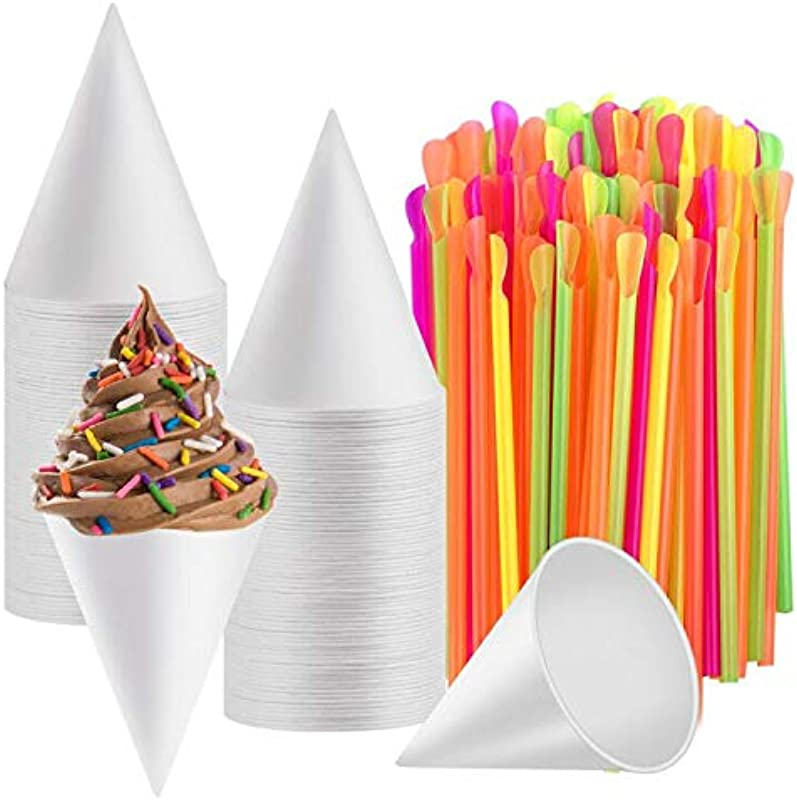 Disposable Snow Cone Cups WXJ13 100 Piece 6 Ounce Shaved Ice Cups With 100 Piece Spoon Straws For Home Company Party