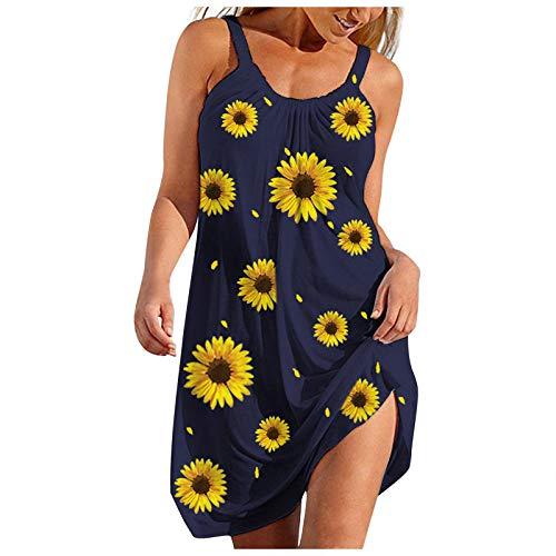 Vestido feminino de gola redonda, coquetel, festa, noite, plus size, vestido de praia para o verão, H-02 - Azul, XXG