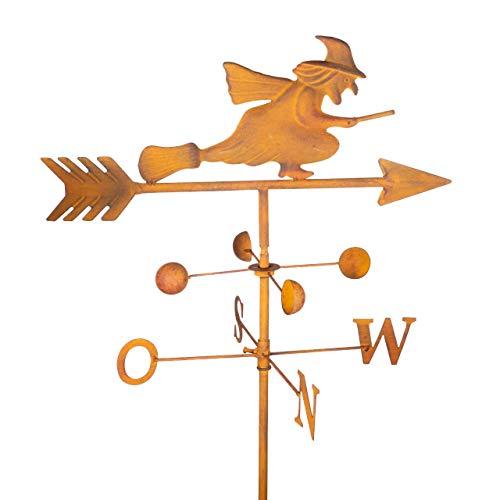 CIM Edelrost Gartenstecker - Wetterhexe - Verlässliche Windrichtungs- und Himmelsrichtungsanzeige - Maße des Wetterhahns 23cm x 23cm - Länge des Pfeils 42cm - Gesamthöhe 120 cm