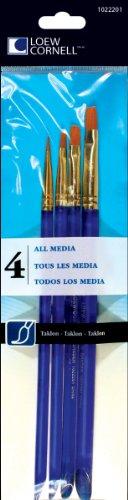 Loew-Cornell 4-Piece All Media Brush Set, Taklon, Shader 2, 4, 6, 8
