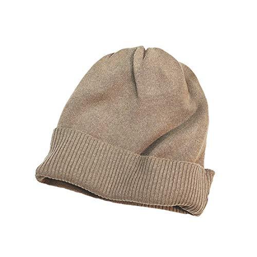 HIOD Hombres Mujer Gorros de Punto con Coleta Beanie Sombrero Invierno Suave Cálido Elástico Beanie Hat,Khaki
