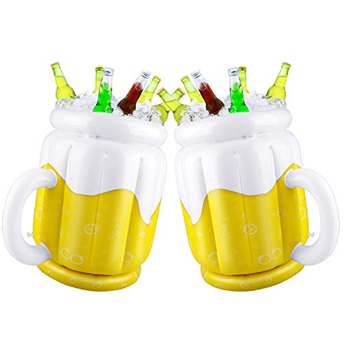 Confezione da 2 secchi gonfiabili per la birra per feste estive, tazze refrigeranti per feste a tema hawaiano, Luau, piscina, spiaggia, a forma di tazza, 44 x 32 cm