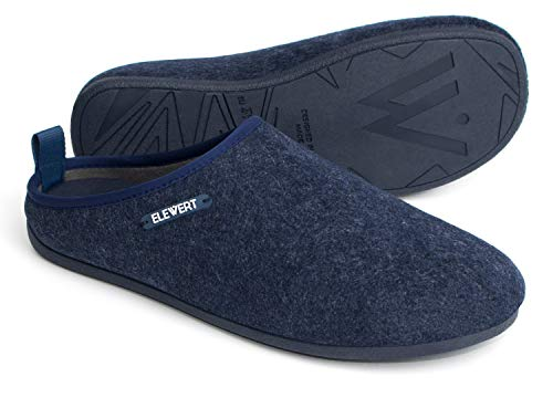 ELEWERT® - NATURAL-W1NAVY - Zapatillas para casa, Confort, Unisex, Interior, Exterior, Suela de Caucho, Plantilla extraíble reciclada, Designed IN Europe, Made IN Spain. Talla 46