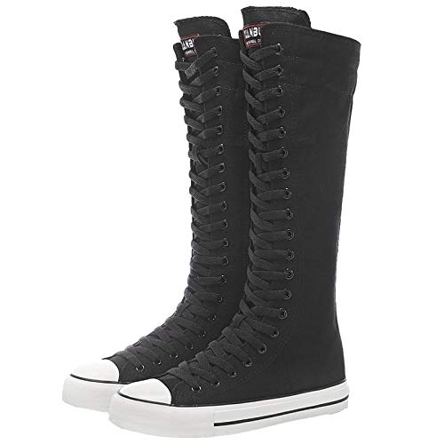 ANUFER Women Fashion Canvas Dance Boots Knee High Bicycling Boots Girls Fancy School Shoes Black 905 US9
