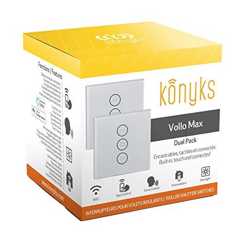 Konyks Vollo Max Easy - Pack de 2 interruptores empotrables para persianas Wi-Fi + Bluetooth, compatibles con Alexa y Google Home...
