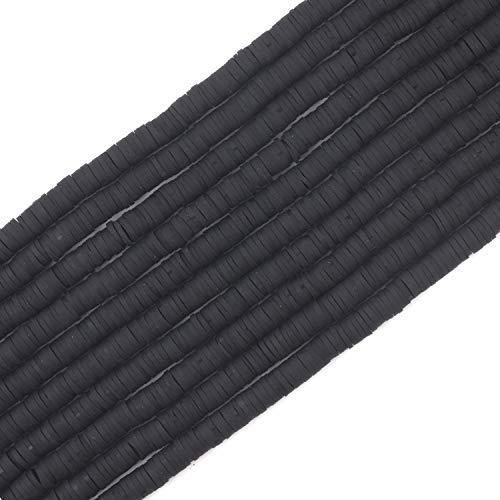 COIRIS 4000 cuentas de vinilo Heishi hechas a mano ambientales de arcilla polimérica espaciador de 6 mm de disco plano para surfista Chocker collar pulsera pendientes fabricación de joyas (RT-Black-6)