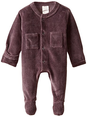 L'ovedbaby Unisex Baby Organic Cotton Velour Footed Overall, Eggplant, 0-3 Months