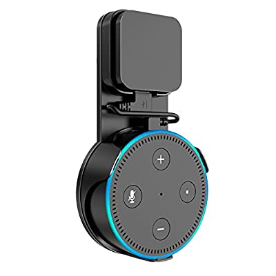 SPORTLINK Socket Wall Mount Hanger Stand for Dot 2nd Generation(2017 Release) Without Mess Wires Or Screws, A Choice for Home Voice Assistant Plug in Kitchen Bathroom and Bedroom (Black) from SPORTLINK