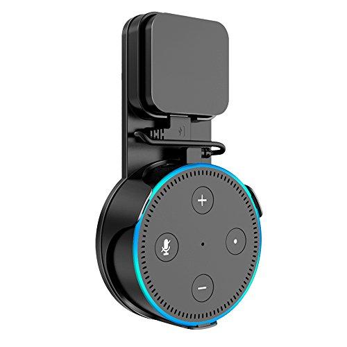 Support Mural pour Dot (2ème génération), SPORTLINK Prise Wall Mount Hanger Holder pour Alexa Home Voice Assistants, avec Un Personnalisé Sourt câble USB (Noir)