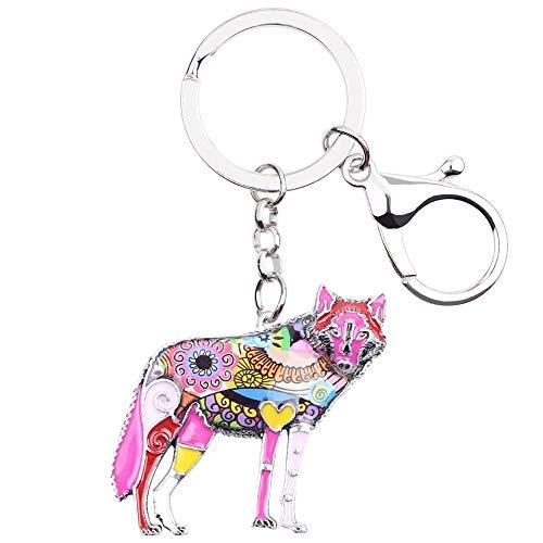 LZHLMCL - Llavero de cadena esmaltada con diseño de lobo para llaveros, anillos, llaveros, joyas, animales, regalo para mujeres y niñas