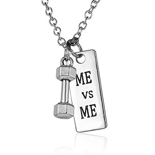 """""""ME vs ME"""" Pendant Necklace - Best Motivational Gift - Barbell Dumbbell Pendants"""