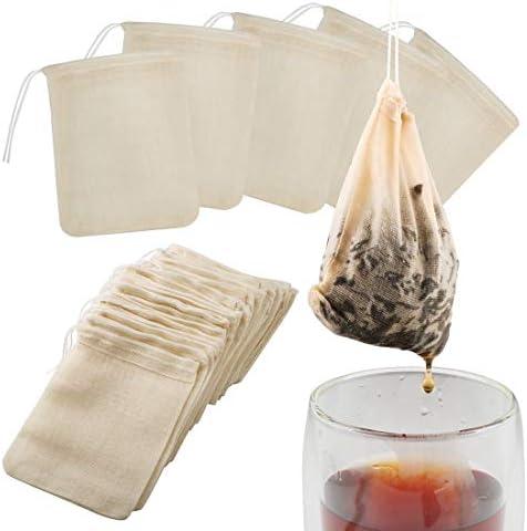 Tea Filter Bags 50 Pack Housim Reusable Cotton Tea Bags Empty Unbleached Strainer Filter Bags product image