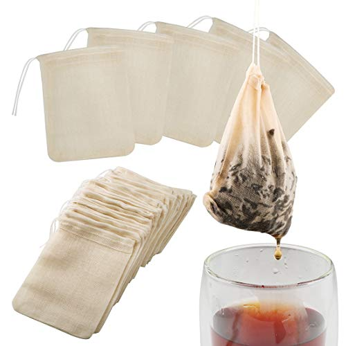 Tea Filter Bags, 50 Pack Housim Reusable Cotton Tea Bags Empty Unbleached Strainer Filter Bags ECO Friendly Tea/Herb Brew Bags Loose Leaf Tea Infuser for Home Office Travel (3.1 x 3.9Inch)