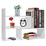 Voency Estantería pequeña de escritorio, estantería para libros, estantería...