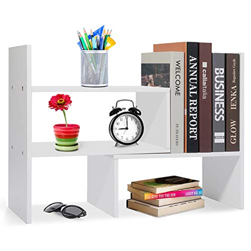 Voency Estantería pequeña de escritorio, estantería para libros, estantería de madera, estantería ajustable, extensible para suministros de oficina, decoración del hogar y cocina