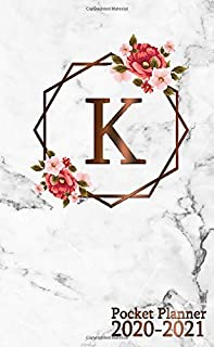 K: Initial Monogram Letter K 2020-2021 Monthly Pocket Planner with Phone Book, Password Log & Notebook. Pretty 2 Year (24 Months) Agenda, Organizer and Calendar - Rose Gold Metallic Floral Print