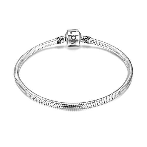 LONAGO Women's Genuine Sterling Silver Snake Chain Bead Clasp Charm Bracelet Jewelry for Women Girls (7.5 inches/19 cm)
