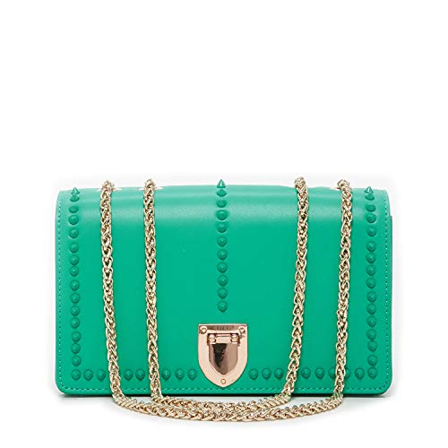 Green Purse Leather Crossbody Bags for Women Studs Crossover Studded Purses and Handbags Double Chain Cross body with Credit Card Slots Small Chic Over the Shoulder Bag Trendy Designer Cute Handbag