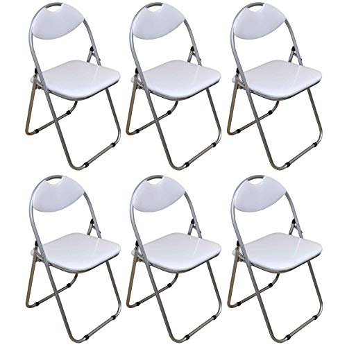 Harbour Housewares White Padded, Folding, Desk Chair - Pack of 6