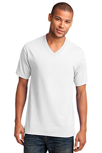 Port & Company® Core Cotton V-Neck Tee. PC54V White M