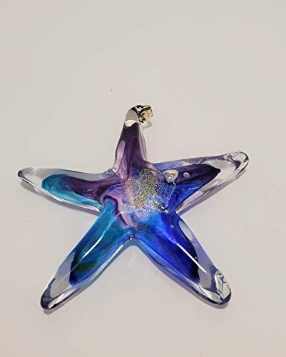 Luke Adams Glass | 3.5' Mini Glass Star | Handmade Suncatcher | Hanging Starfish Home Décor | Outdoor Garden Accent (Blue Violet Teal)