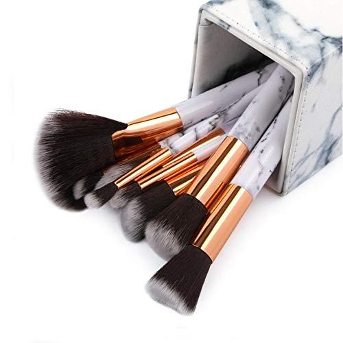 MEIYY Make-up borstel 10 Stks Professionele Marmeren Make-up Borstels Zachte Make-up Brush Set Foundation Poeder Penseel Schoonheid Marmeren Make-up Gereedschap Met Doos