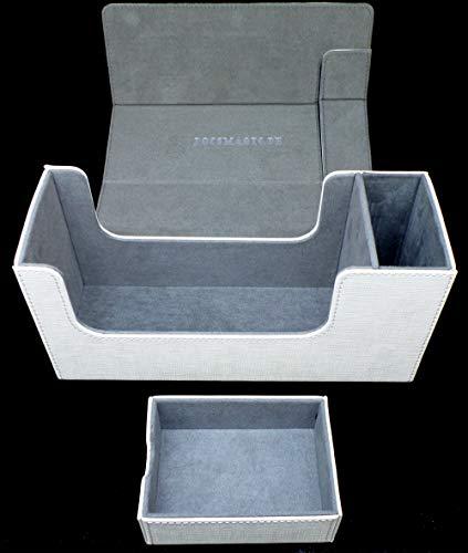 docsmagic.de Premium Magnetic Tray Long Box White Small - Card Deck Storage - Caja Blanco