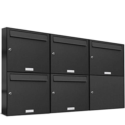 AL Briefkastensysteme 5er Briefkastenanlage Anthrazit Grau RAL 7016, Premium Briefkasten DIN A4, 5 Fach Postkasten modern Aufputz