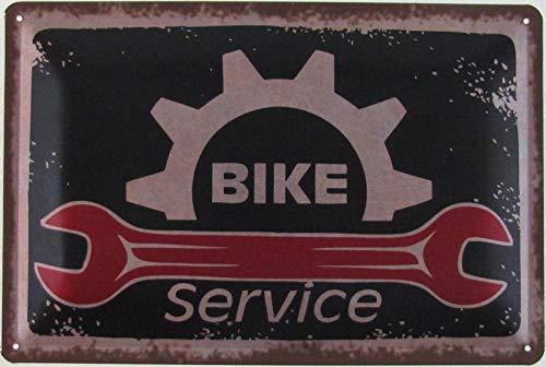 Blechschild 20x30cm gewölbt Bike Service Fahrrad Werkstatt Vintage Deko Geschenk Schild