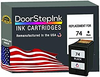 DoorStepInk Remanufactured in The USA Ink Cartridge Replacements for HP 74 Black CB335 for HP Deskjet D4260, D4360 OfficeJ...