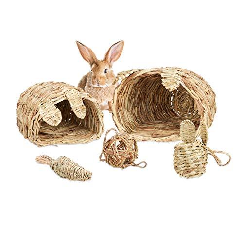 Relaxdays Set Paglia per Conigli, 5 Accessori, 2 Tane, 2 Palline & Carota Giocattolo da Masticare, Roditori, Naturale