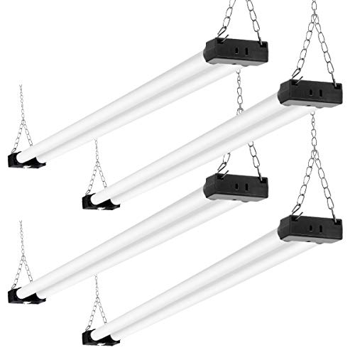 Linkable LED Shop Light 4ft 40W 6000K 4500LM Super Bright, Garage Lighting Fixture, with Pull Chain(ON/Off) 6000K 4PK