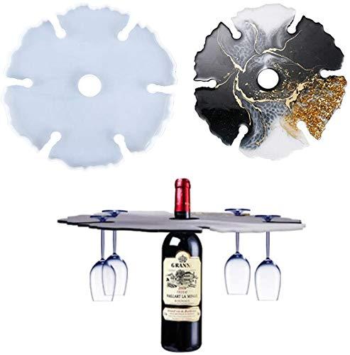 Estante para copas de vino Moldes de resina Fundición epoxi Molde de silicona Silicona Irregular Copa de vino Soporte Bandeja Posavasos Molde Cristal de ágata Fabricación de joyas Molde DIY