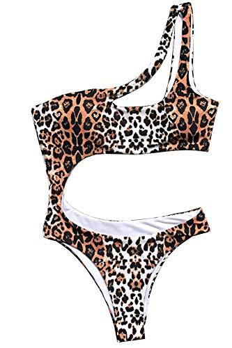Lovelegis Costume Intero Donna - Monospalla - Sexy - da Bagno - Mare - Ragazza - Aperto sulla Pancia - Leopardato - Maculato - Multicolore - Taglia L