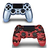 YU33 2 Pack Wireless Controller for PS4 Controller, PS4 Remote for Sony Playstation 4 with Charging Cable and Double Shock, Titanium Blue + Red Camouflage 2 Pack Playstation 4 Controller.
