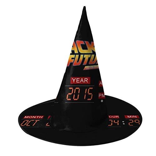 OJIPASD Delorean Count Down Time Machine Back To The Future Bruja Sombrero Halloween Unisex Disfraz para vacaciones Halloween Navidad carnavales fiesta