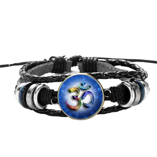 Pulsera multicapa de moda Buda Símbolo de Cristal Cúpula Casual Cuero Negro Madera Bead Brazaletes Tejidos para Budista
