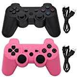 Ceozon Lot de 2 manettes sans fil Bluetooth pour Playstation 3 avec cordons de charge Noir/rose