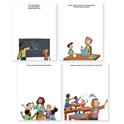 """4 Notepads with Funny Teacher Humor 