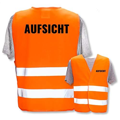 Bedruckte Marken-Warnwesten mit ISO-Leuchtstreifen * Standard- oder Reflex-Druck * Schule, Warnweste Begriffe Schule:Aufsicht, Farbe + Größe:Orange (S)