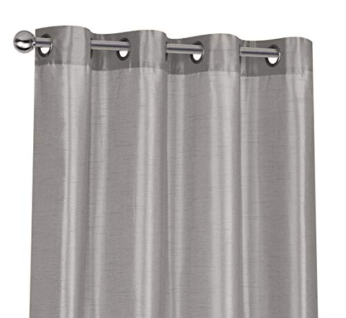 Regal Home Collections 2 Pack Semi Sheer Faux Silk Grommet Curtains - Assorted Colors (Silver)