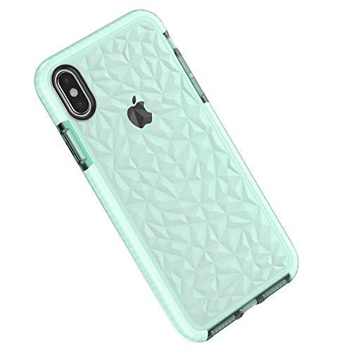 Funda iPhone X/XS, Carcasa Silicona Transparente Protector TPU Airbag Anti-Choque Ultra-Delgado Anti-arañazos Case 3D Modelo Geométrico de Diamante Funda para Teléfono (iPhone X/XS, Verde)
