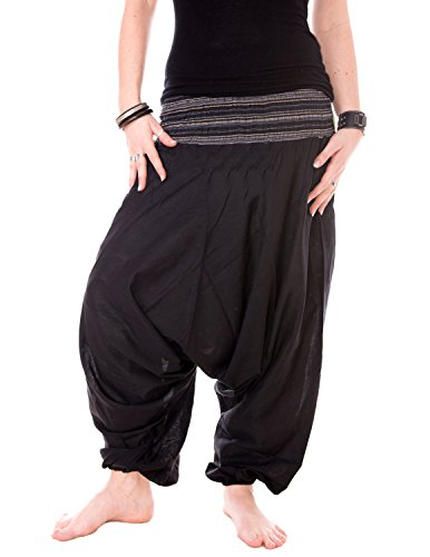 Vishes - Alternative Bekleidung - Baumwoll Haremshose mit gestreiftem Bund Schwarz